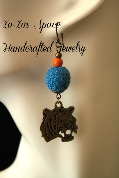 Blue and Orange Globe AB Tiger Crochet Earrings Bust Close up
